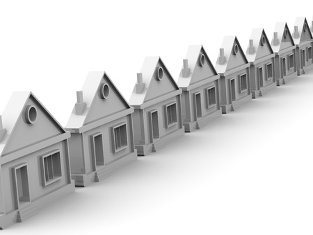 lined up: Houses lined up in rows Stock Photo