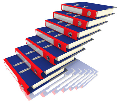 Folders stacked in the form of steps