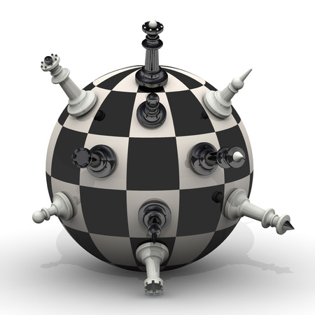 chessmen: Chessmen stand on a spherical field Stock Photo