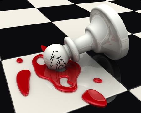 The fallen pawn on the chessboard Stock Photo