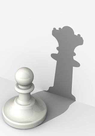 insidious: Pawn with high self-esteem. Chess piece Stock Photo