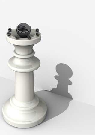 low self esteem: Queen with low self-assessment. Chess piece