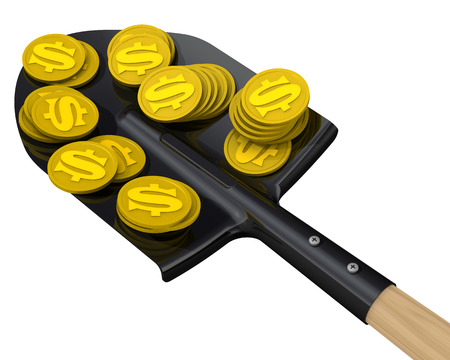 gold shovel: Gold coins with the symbol of the American dollar on the shovel. The concept of financial success Stock Photo