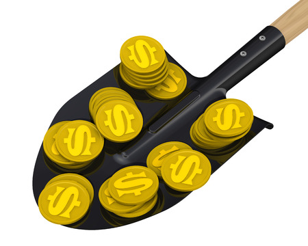 money background: Gold coins with the symbol of the American dollar on the shovel. The concept of financial success Stock Photo