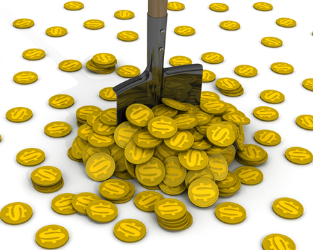 Shovel And A Pile Of Gold Coins With The Symbol Of The American