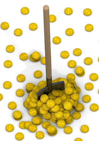 gold shovel: Shovel and a pile of gold coins with the symbol of the American dollar. The concept of financial success