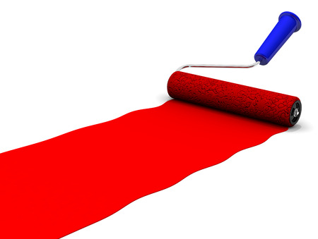 red paint roller: Paint roller paints by red color on white surface Stock Photo