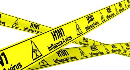 h1n1: Influenza A virus subtype H1N1. Yellow warning tapes