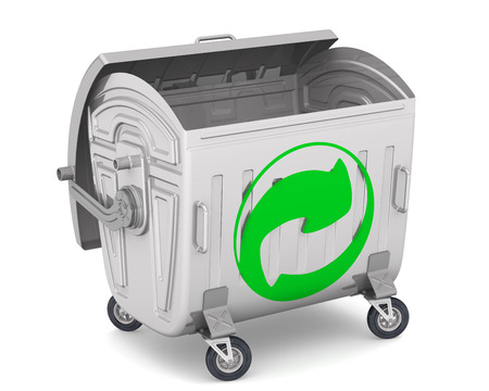 trash container: Open trash container with the sign of recycling waste Stock Photo