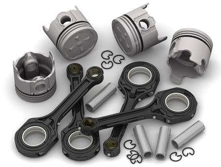 compression  ring: Details connecting rod-piston group of internal combustion engine Stock Photo