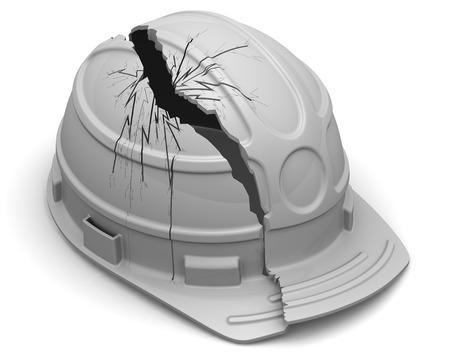 hard hat: Broken hard hat Stock Photo