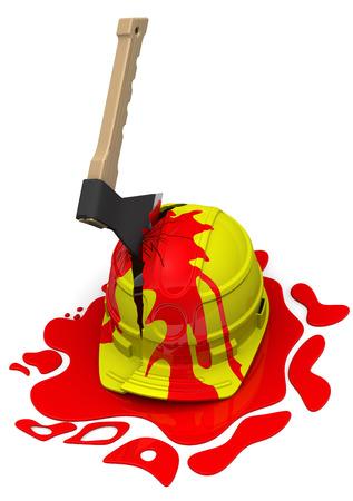 yellow helmet: Yellow helmet pierced by an axe