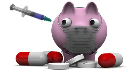 protruding eyes: Sad pig with a medical mask on muzzle and medications standing on a white surface Stock Photo