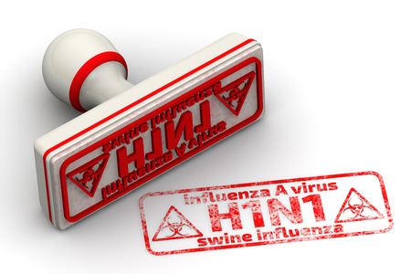 h1n1: Influenza A virus H1N1. Swine influenza. Seal and imprint