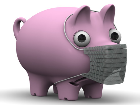 protruding eyes: A sick pig. Sad pig with a medical mask on muzzle standing on a white surface