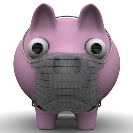 mumps: A sick pig. Sad pig with a medical mask on muzzle standing on a white surface