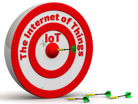 hit tech: The target with the inscription The Internet of Things and dart in center