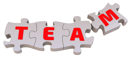 compile: Red letters on the playing pieces of the puzzle are collected in the word TEAM. The three-dimensional illustration. Isolated Stock Photo