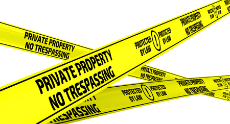 trespassing: Yellow warning tapes with inscription PRIVATE PROPERTY. NO TRESPASSING. PROTECTED BY LAW. Isolated