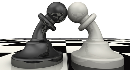 enmity: Black and white pawn bent to each other. The concept of reconciliation or combating, enmity the warring parties