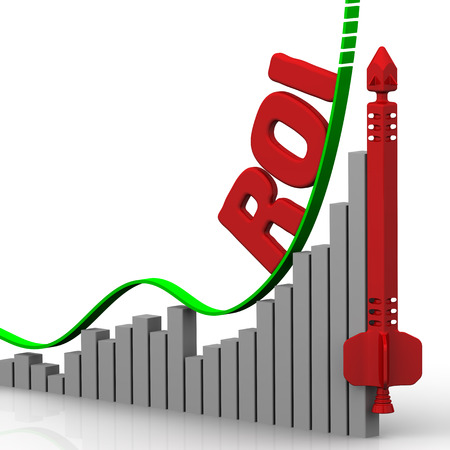 volatility: Graph of rapid growth in the value of ROI Return On Investment. Financial concept