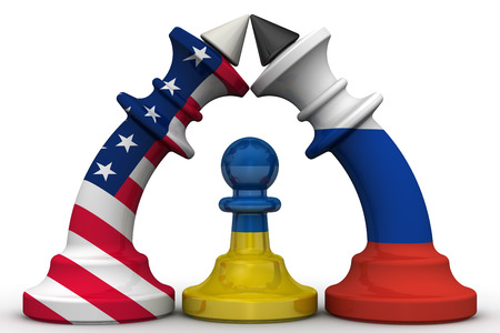 enmity: Ukraine - a pawn in the geopolitical game. Chess pieces - kings in the colors of flags of Russia and the US are bent to each other, and between them a pawn in the colors of the Ukrainian flag