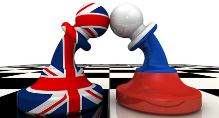 The confrontation between the Russian Federation and United Kingdom Stock Photo