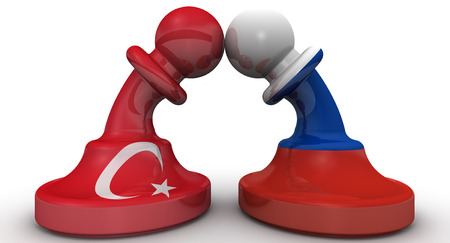 enmity: The confrontation between the Russian Federation and Turkey. The concept Stock Photo