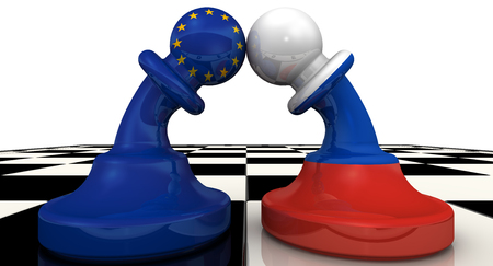 enmity: Confrontation between the Russian Federation and the European Union Stock Photo