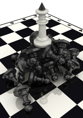 enmity: Victory of the black chess pieces Stock Photo