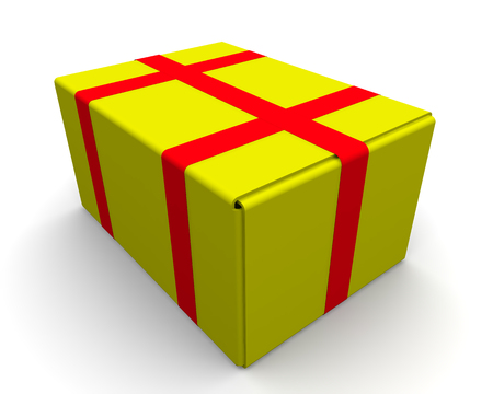 tare: Closed yellow box is wrapped in red adhesive tape