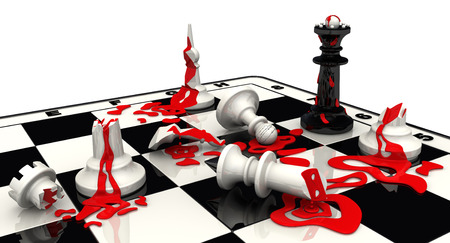 pawn to king: Chess battle. The black pieces won