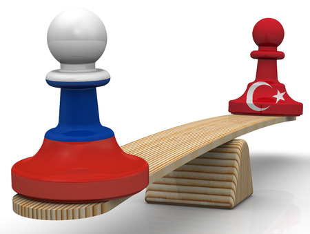 the federation: The balance between the Russian Federation and Turkey. Concept Stock Photo