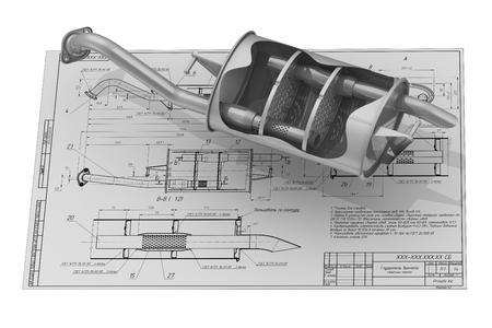 Autoabgasschalldämpfer auf der Zeichnung Hintergrund Standard-Bild - 54005021