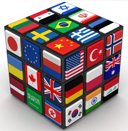 Banderas de los países Vaus en las caras del cubo Foto de archivo - 54005030