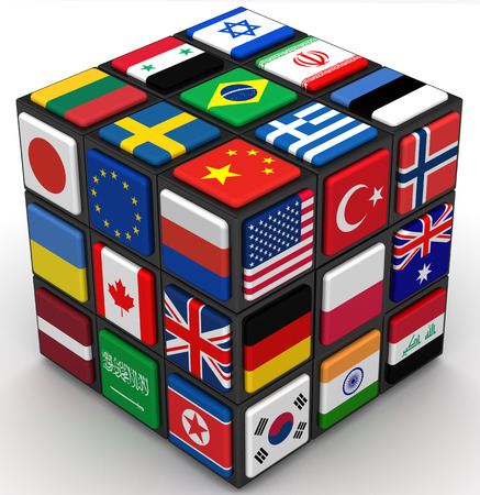 Flags of various countries on the faces of the cube Banque d'images