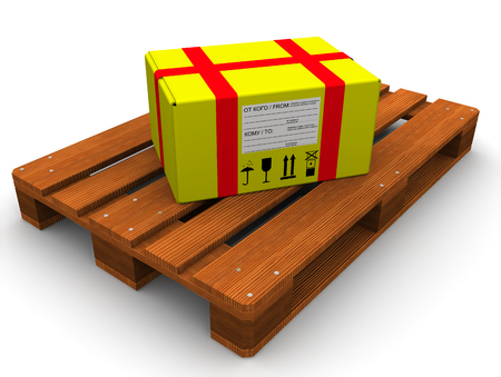 euro pallet: The yellow parcel on the Euro-pallet. The three-dimensional illustration. Isolated