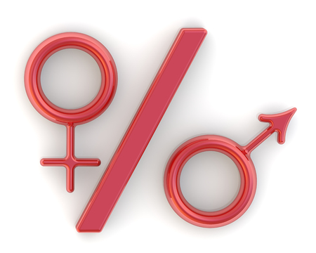 The percentage of male and female
