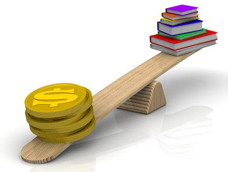 outweigh: Money on the scale outweigh the pile of books Stock Photo