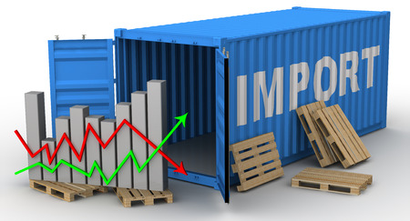 imports: The change of volume of imports. Concept Stock Photo