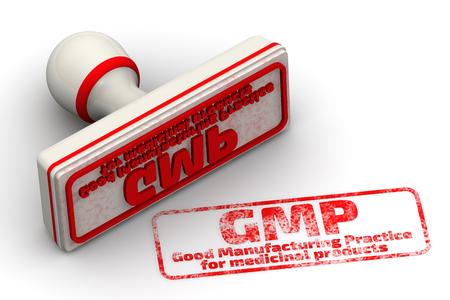 GMP. Good Manufacturing Practice für Arzneimittel. Seal und Impressum Standard-Bild - 56268277