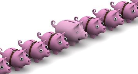 hoard: Full piggy bank in a row of empty