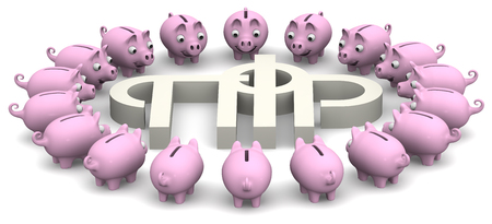 and is favorable: Favorable savings in the pension fund of the Russian Federation Stock Photo