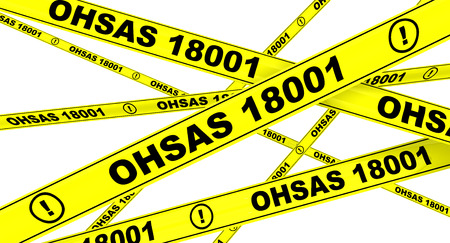 OHSAS 18001: 2007. Yellow warning tapes 免版税图像