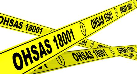 OHSAS 18001: 2007. Yellow warning tapes Reklamní fotografie
