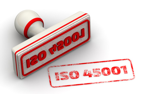 imprint: ISO 45001. Seal and imprint Stock Photo