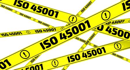 ISO 45001. Yellow warning tapes