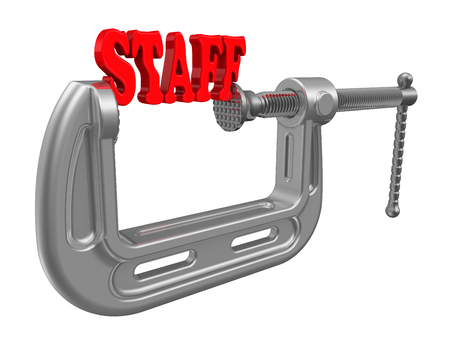 clamped: Red word staff is squeezed by the clamp.  Isolated. 3D Illustration