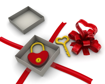 key box: Open gift box with padlock and key in the form of heart. Isolated. 3D Illustration