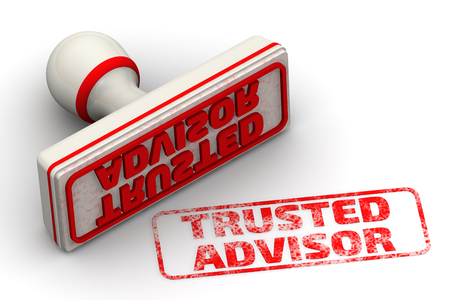 Vertrauenswürdiger Berater. Seal und Impressum Standard-Bild - 58326842